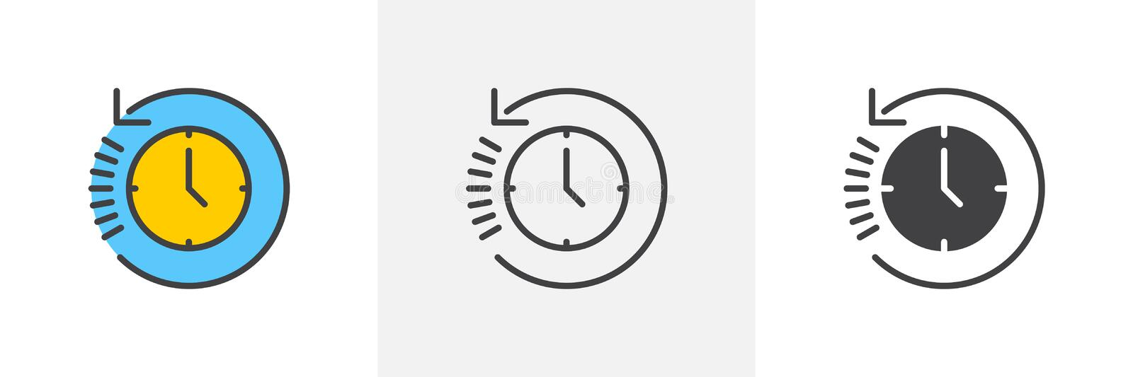History, clock with arrow around icon royalty free illustration