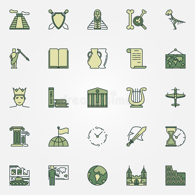 History colorful icons stock illustration