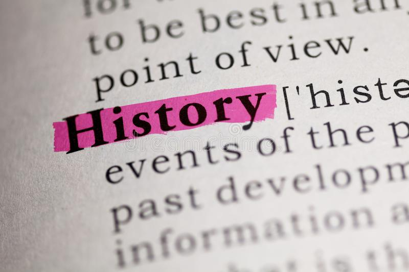 Definition of the word History. Fake Dictionary, Dictionary definition of the word History stock photo