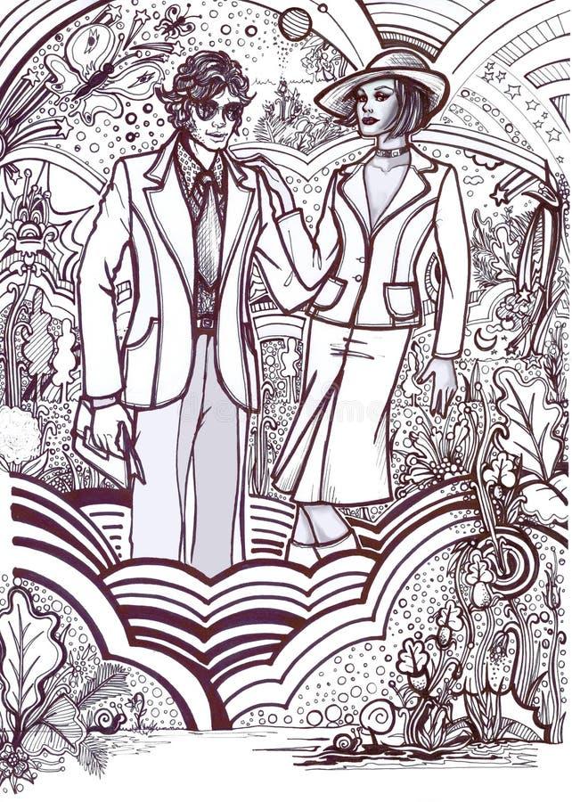 History of Fashion: 70s couple stock illustration