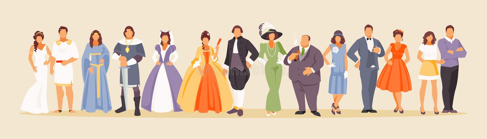 History of fashion vector. History of man and woman fashion from ancient times to the present. Development of mankind. Vector illustration of a large set of stock illustration
