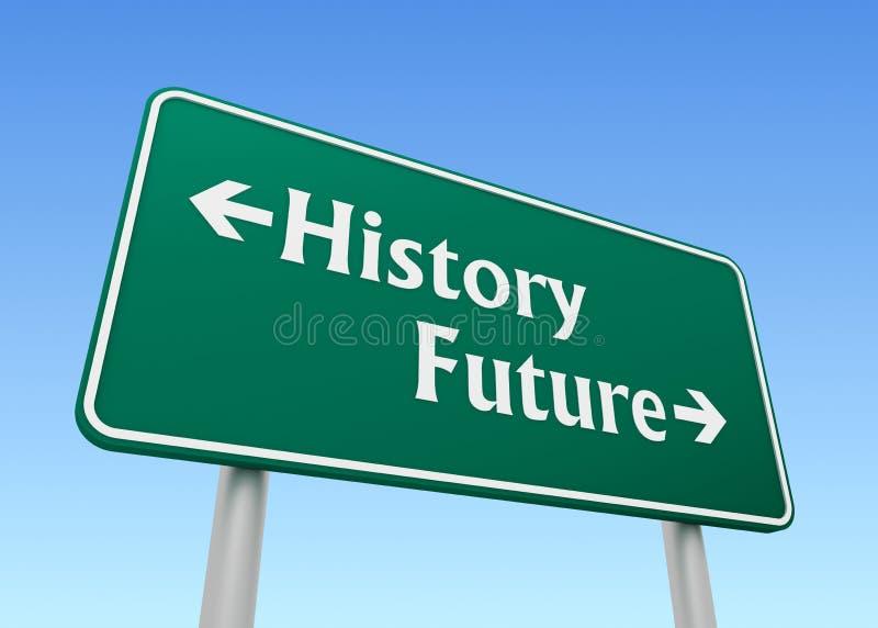 History future road sign concept 3d illustration. History future green road sign 3d concept illustration vector illustration