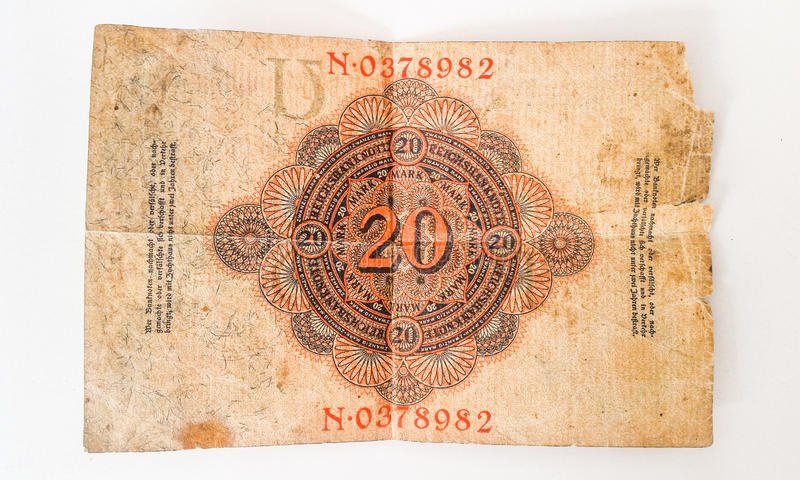 History of German Banknote Zwanzig Mark 1914 - WW1. History of German Banknote Zwanzig Mark royalty free stock photo