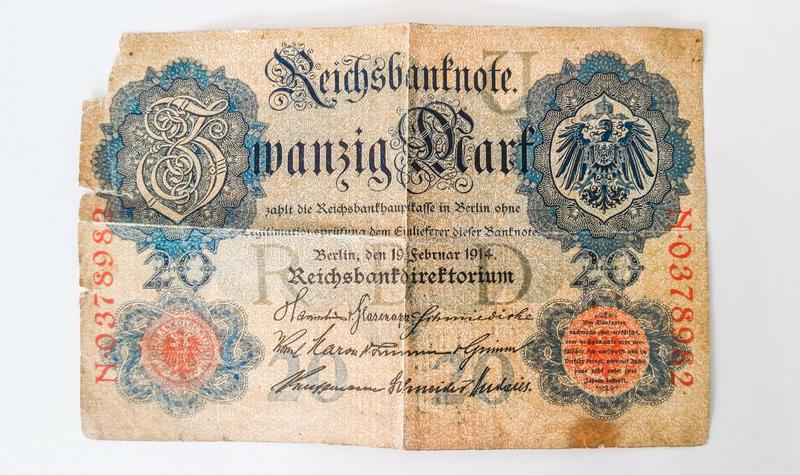History of German Banknote Zwanzig Mark 1914 - WW1. History of German Banknote Zwanzig Mark stock images