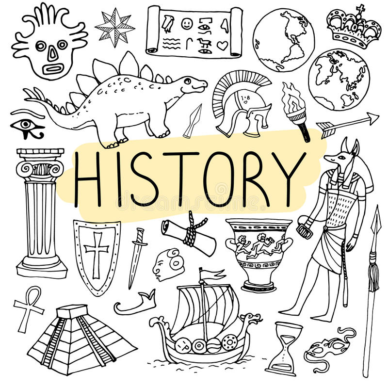 History hand drawn doodles. Vector back to school illustration. vector illustration