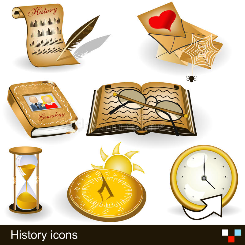 History Icons Stock Photo