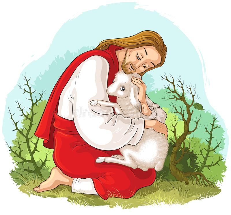 History of Jesus Christ. The Parable of the Lost Sheep. The Good Shepherd Rescuing a Lamb Caught in Thorns. Vector cartoon christian illustration. Standard royalty free illustration