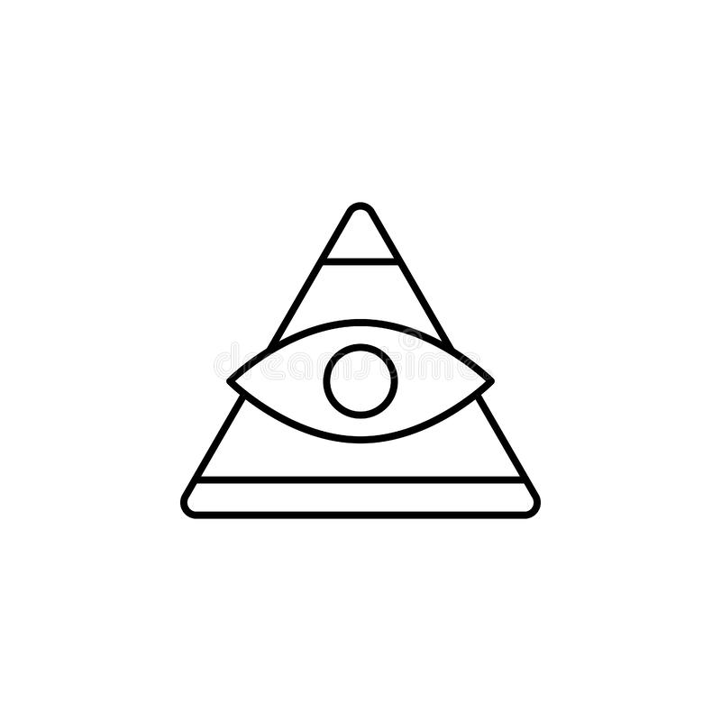 History, pyramid, eye icon. Simple thin line, outline  of History icons for UI and UX, website or mobile application. On white background royalty free illustration