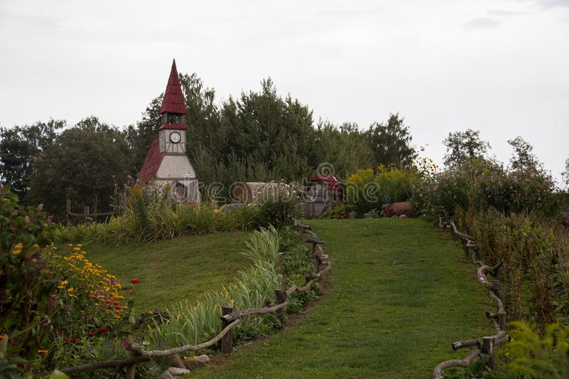 Rabit town in Latvia. The history of the rabbit town began in 2009, when Ojārs Narvils moved to Vecumnieki and built there the first Rabbit Town. In 2012 royalty free stock photos