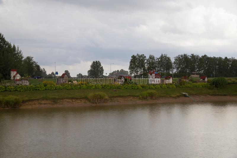 Rabit town in Latvia. The history of the rabbit town began in 2009, when Ojārs Narvils moved to Vecumnieki and built there the first Rabbit Town. In 2012 stock photo
