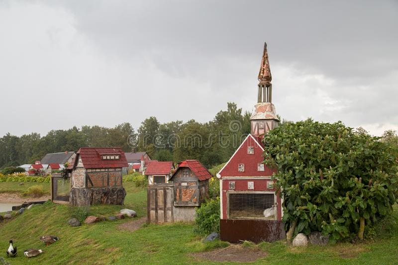 Rabit town in Latvia. The history of the rabbit town began in 2009, when Ojārs Narvils moved to Vecumnieki and built there the first Rabbit Town. In 2012 stock image