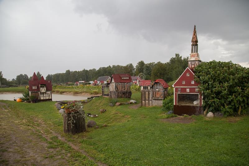 Rabit town in Latvia. The history of the rabbit town began in 2009, when Ojārs Narvils moved to Vecumnieki and built there the first Rabbit Town. In 2012 stock images
