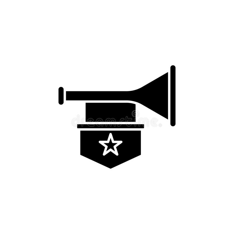 History, trumpet icon. Simple glyph, flat vector of history icons for ui and ux, website or mobile application. On white background royalty free illustration