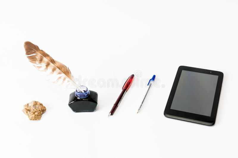 History of writing. From stone to electronic tablet royalty free stock photography
