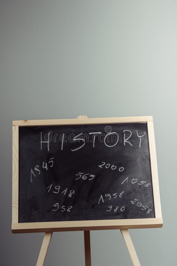 History, written with white chalk on a blackboard stock photo