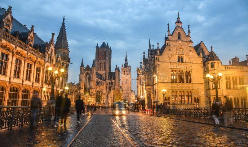 Historyczna ćwiartka w Gent, Belgia obrazy stock