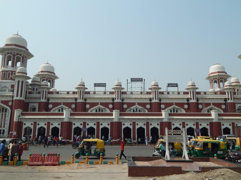 Historyczna Charbagh stacja kolejowa Lucknow zdjęcia royalty free