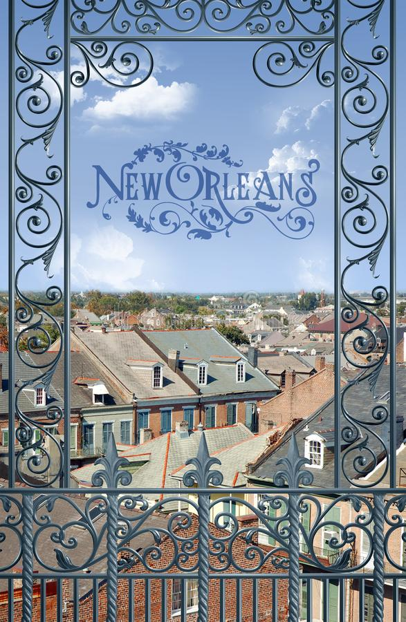 Historyczna Ikonowa Klasyczna Nowy Orlean kartki z pozdrowieniami balkonu scena zdjęcia stock