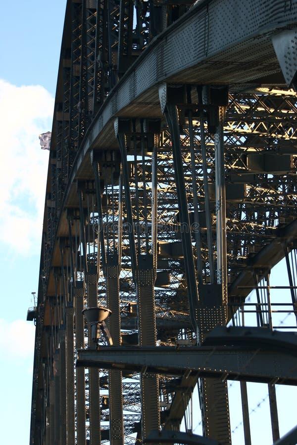 Historyczna stalowa kratownicowa łuku mostu struktura, rygle i nity, Ikonowy Sydney schronienia most, Australia fotografia royalty free