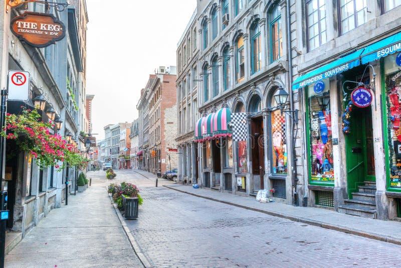 Historyczna Stara Montreal ulica w Quebec, Kanada obraz stock