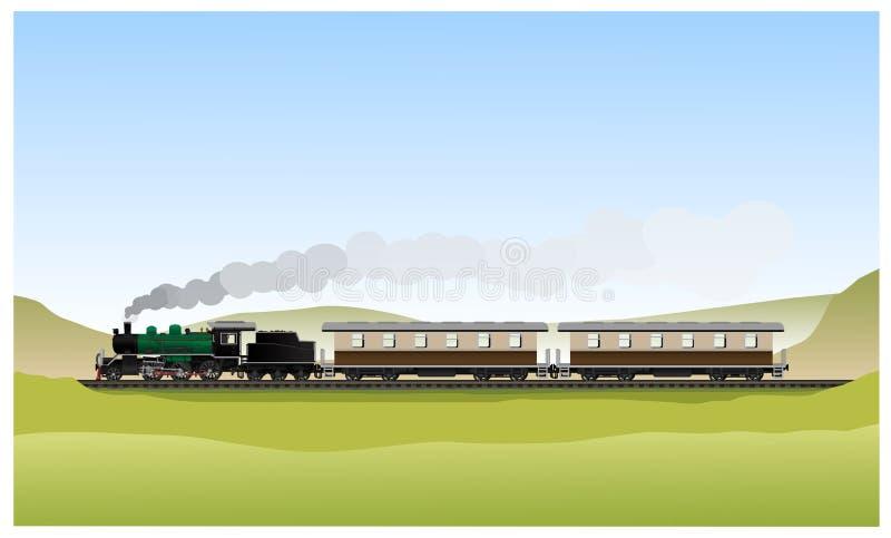 Historyczna Stara parowa lokomotywa royalty ilustracja