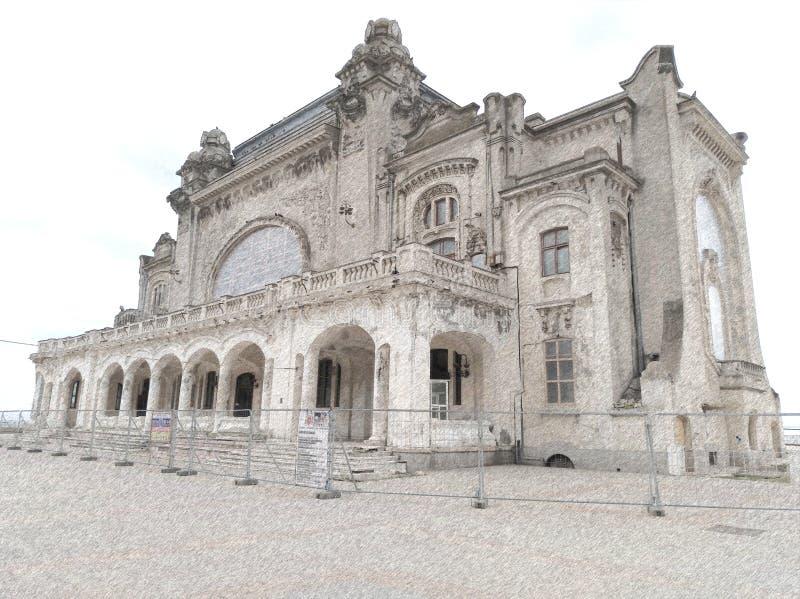 Historyczne kasyno budowlane w Konstancie w Rumunii, zbudowane w 1909 r. szkic foto zdjęcia royalty free