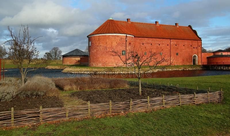 Historycznego punktu zwrotnego Landskrona cytadela w Scania, Szwecja obrazy stock