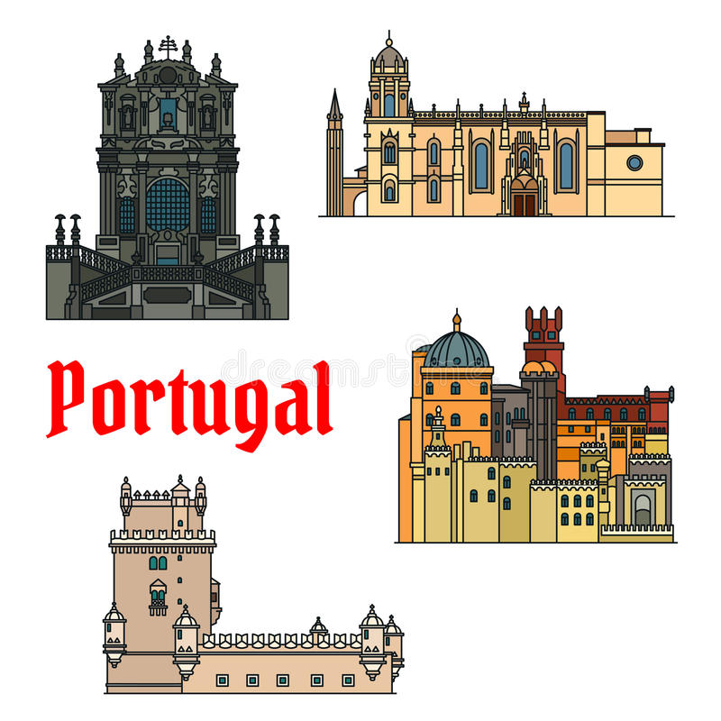Historyczni budynki i sightseeings Portugalia royalty ilustracja