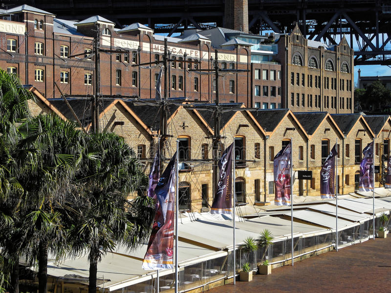 Historyczni budynki skały dzielnica w Sydney zdjęcia royalty free