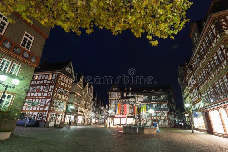 Historyczni budynki w herborn Germany w wieczór fotografia royalty free