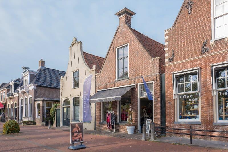 Historyczni budynki w mieście miedza w Friesland, holandie obraz stock