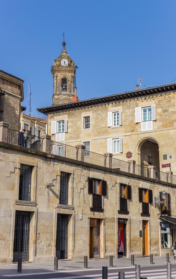 Historyczni budynki w starym centrum Vitoria-Gasteiz zdjęcie stock