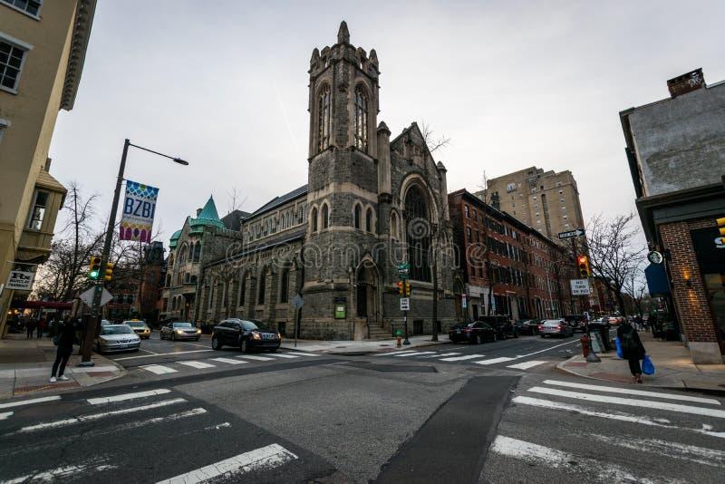 Historyczni ceglani domy w społeczeństwa wzgórzu w Filadelfia, Pennsy obrazy stock