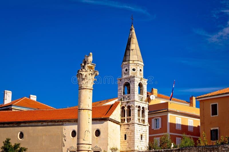 Historyczni rzymscy punkty zwrotni Zadar fotografia royalty free