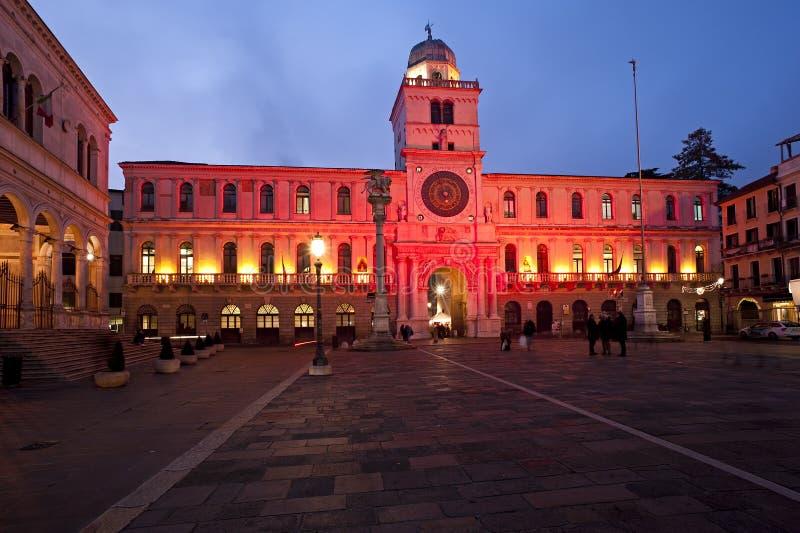 Historyczny basztowy clokc w piazza dei Signori w Padua, ładny miasto w Italy obraz stock