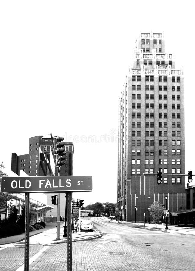Historyczny budynek na Starych spadkach Ulicznych w bizonie NY obrazy royalty free
