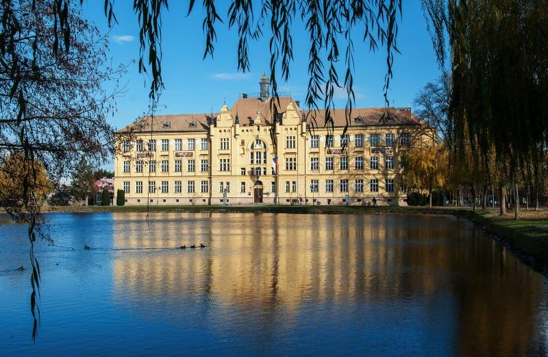 Historyczny budynek szkoły w Litovel, republika czech obraz royalty free