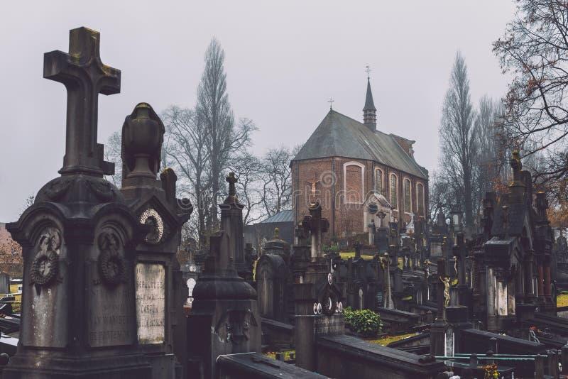 Historyczny cmentarz i kaplica w Ghent, Belgia zdjęcie stock