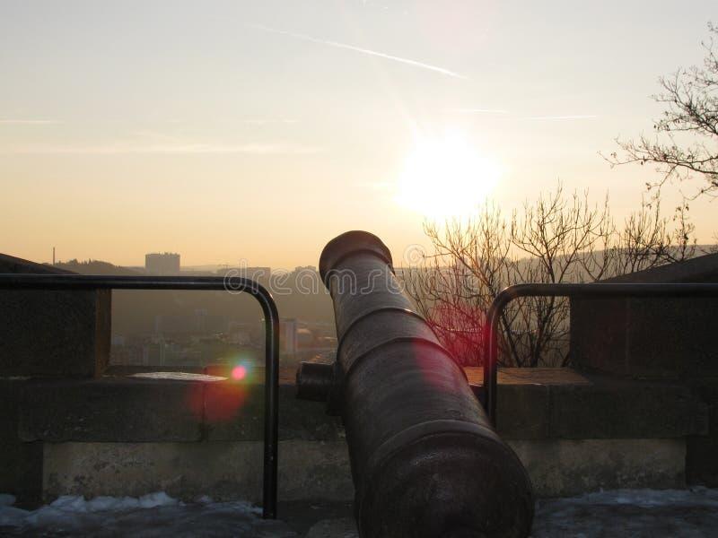 Historyczny działo na ramparts Åpilberk obraz stock