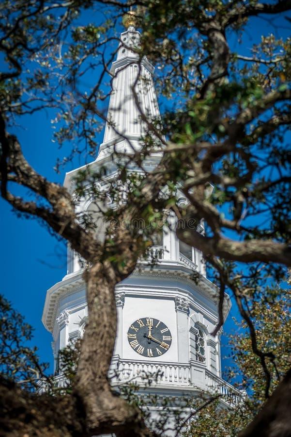 Historyczny kościelny steeple w Charleston Carolina południowych historycznych di obraz stock