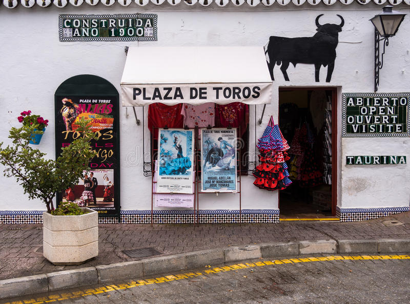 Historyczny Mijas Bullring Andalucia Hiszpania zdjęcie stock