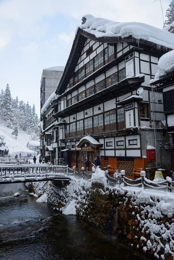 Historyczny okręg Ginzan-onsen w zimie obraz royalty free