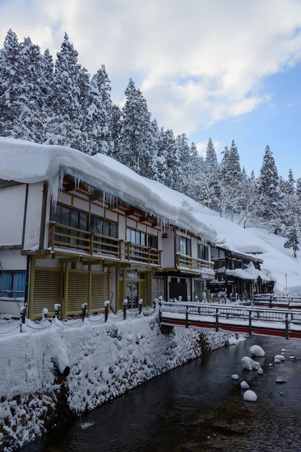 Historyczny okręg Ginzan-onsen w zimie zdjęcie stock