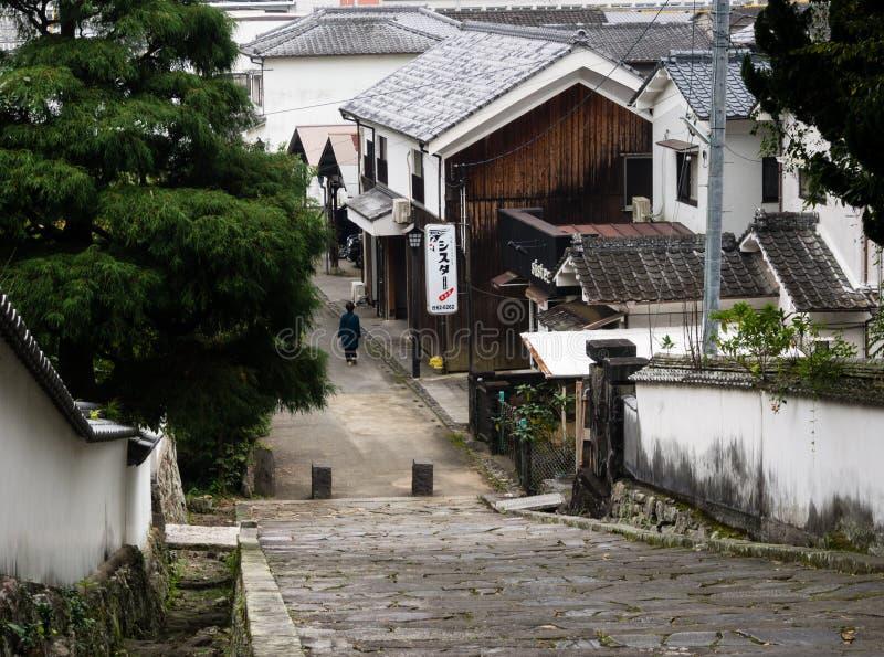 Historyczny okręg z tradycyjnymi Japońskimi domami wokoło Kitsuki kasztelu - Oita prefektura, Japonia fotografia royalty free