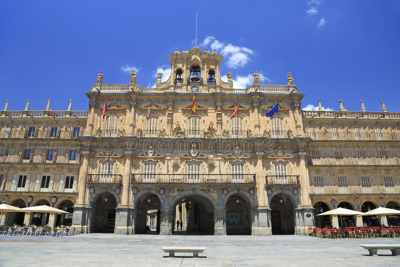 Historyczny placu Mayor w Salamanca na słonecznym dniu, Castilla y Leon fotografia royalty free