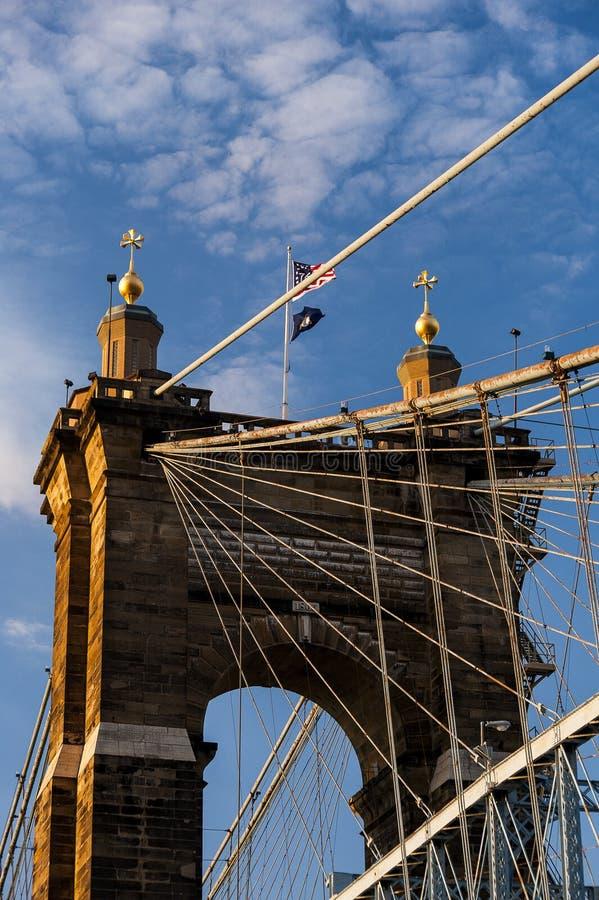 Historyczny Roebling zawieszenia most W centrum Cincinnati, Ohio & Covington -, Kentucky obraz stock