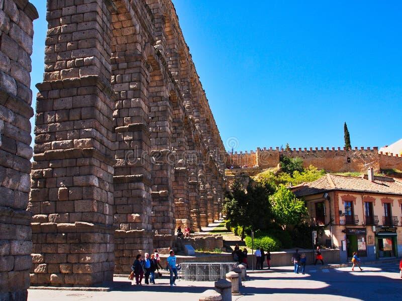 Historyczny Segovia akweduktu, Castile i Leà ³ n, Hiszpania obrazy stock