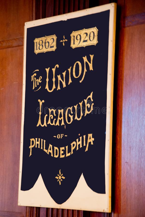 Historyczny sztandar zrzeszeniowy liga Philadelphia fotografia royalty free