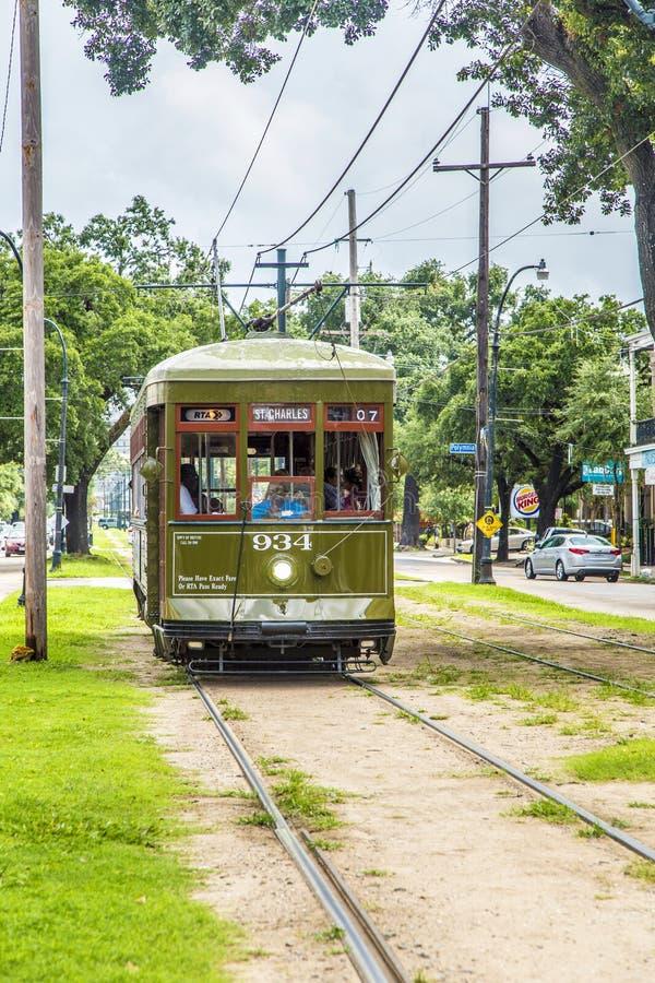 Historyczny tramwaju St Charles w Nowy Orlean obraz royalty free