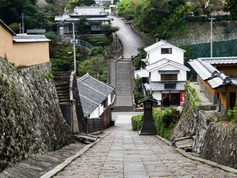 Historyczny w centrum Kitsuki, stary japończyka kasztelu miasteczko w Oita prefekturze obraz royalty free